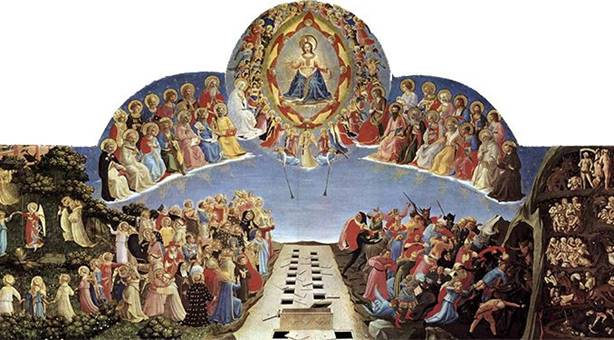 painting of all saints gathered looking up at Jesus