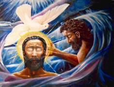 a painting of John the Baptist baptizing Jesus with a holy spirit dove above his head