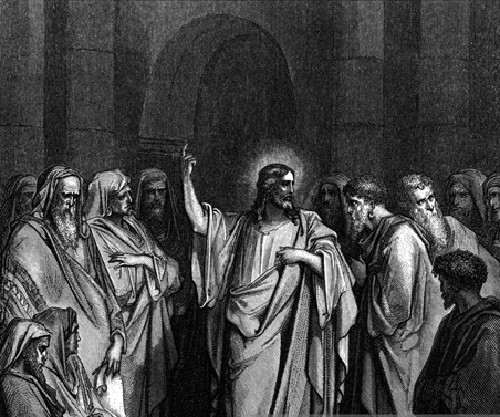 Black and white drawing of Jesus in the temple with his disciples