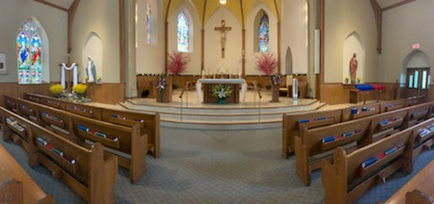 Panoramic image of St. Margaret's sanctuary
