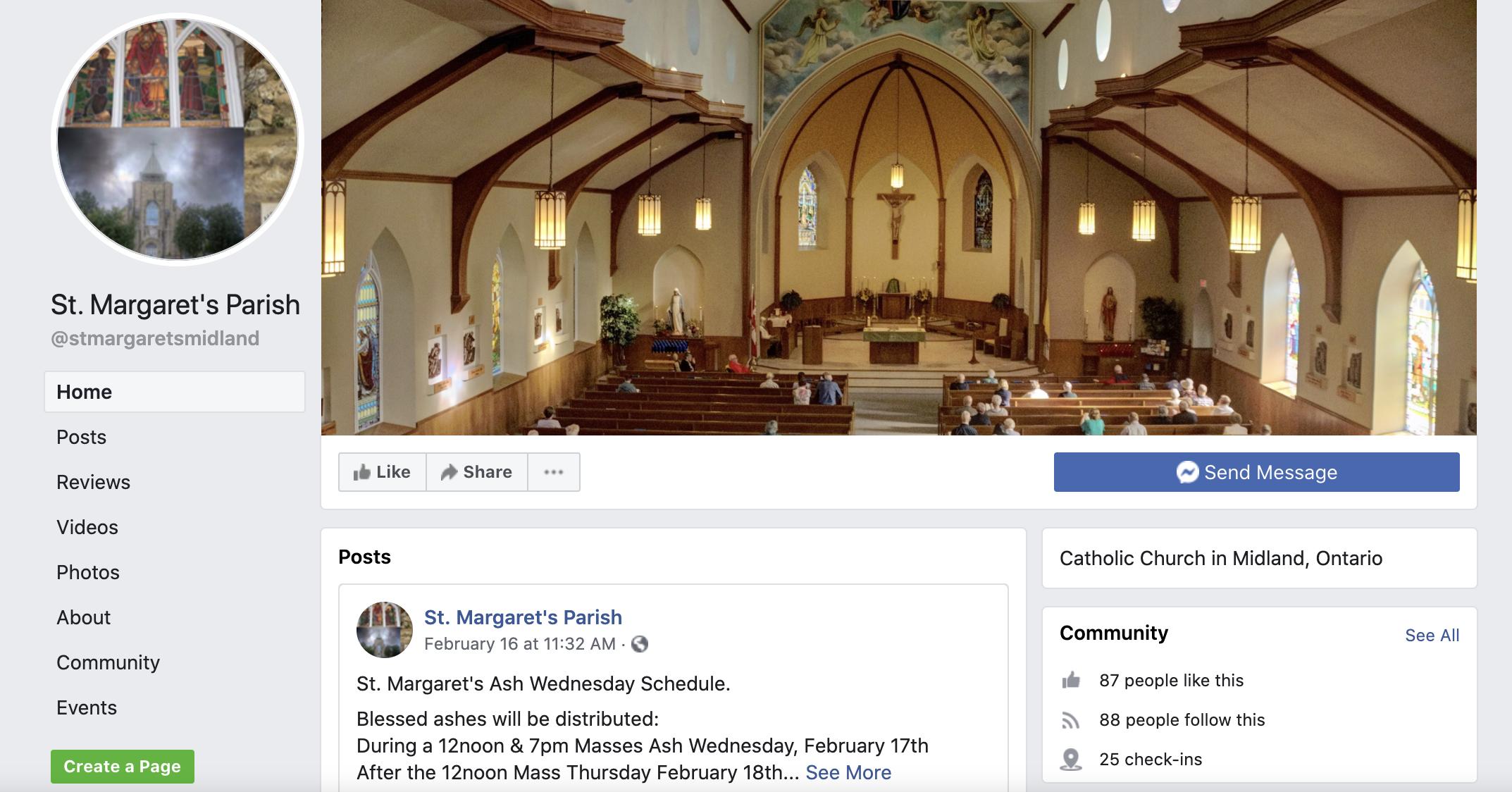 A screenshot of the St. Margaret's facebook home page
