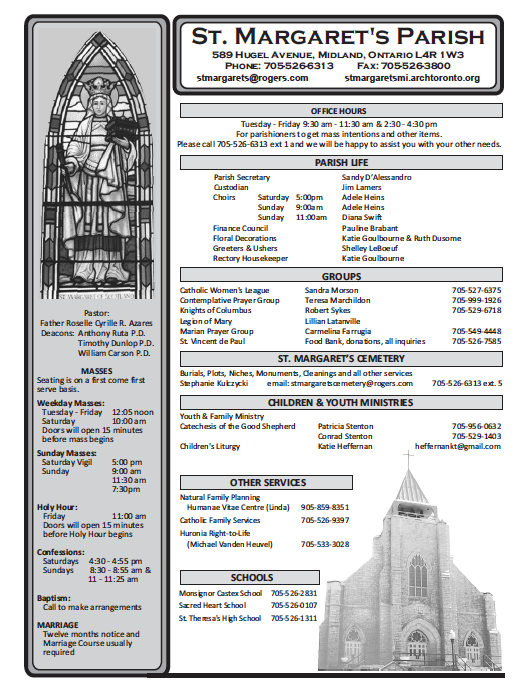 A screenshot of st. margaret's parish bulletin front page